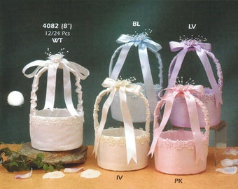 Daisy Flower Embroidered Applique Satin Wedding Flower Girl Basket - 4 Color Choices!