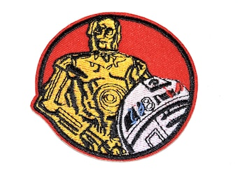 """C-3PO & R2D2 Droids Star Wars 3"""" Iron-On Clothing Patch"""