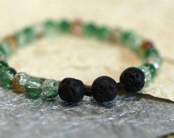 Oil Diffuser Lava Bead Bracelet - Orange and Green