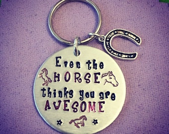 Horse Lover Keyring Keychain. Hand Stamped with Horseshoe Charm. Personalised Option. For Her. For Him. Awesome. Horses. Pony. Ponies.