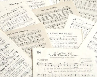 Vintage Hymnal pages, 60 pgs. from vintage hymnal and church songbooks, scrapbooking, paper craft gifts, paper craft supplies, old music