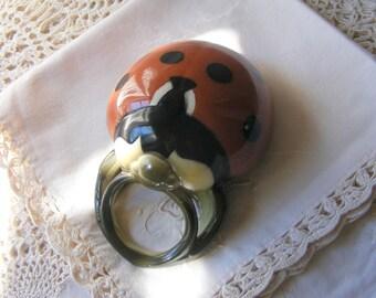 Antique French Sarreguemines Majolica Wall Pocket,Wall Vase./LADYBIRD.