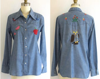 1970s Embroidered Wrangler Shirt/ Women's Western Snap Shirt/ 70s Chainstitch Cowboy Shirt/ Women's SIze XS to SMALL