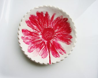 Red Ring Dish, Clay Ring Holder, Flower Ring Dish, Catchall Dish, Jewelry Holder