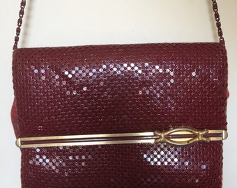 Vintage Glomesh Bag • Burgundy Clutch • Maroon Purse