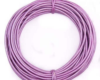 Lilac Metallic Round Leather Cord 1mm, 10 Feet