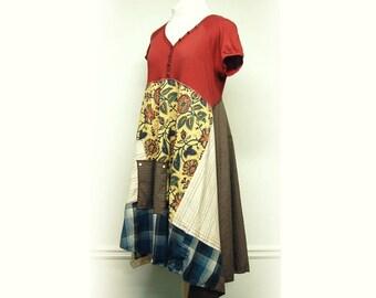 M/L Boho Shabby Chic Dress, Funky Artsy Patchwork Dress, Rustic Eco Friendly Upcycled Clothing by Primitive Fringe