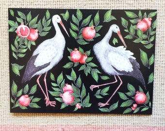 Storks & Pomegranates Greetings Card