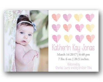 Custom Baby Girl Birth Card - Printable Photo Baby Announcement - Vintage Hearts