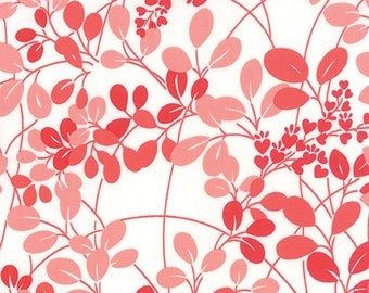 OOAK #1384 -  26 x 44 - Simply Colorful White Red Leaves Fabric by V and Co 10840 21