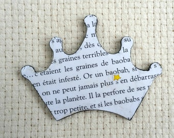 The Little Prince, Crown, Crown Hairclip, French Hair Accessory, Book Lover, Children's Literature, Reading Hairclip, Book Hairclip