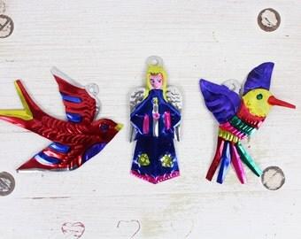 HUMMINGBIRD- Handmade Mexican Tin Ornaments (Set of 3)- Hummingbird- Angel- Dove- Home Decor- Holiday- Cinco De Mayo- Christmas Tree- Fiesta