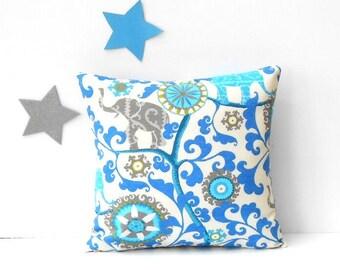 Elephant Print Outdoor Pillow Cover, 18x18 Blue Turquoise Grey Green Cream Sunroom Pillow, Beach House Sham, Deck or Patio Cushion Cover