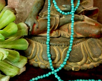 Medium Blue Achira or Achuy Palm Small Seeds.1 Strand, 280 seeds aprox.Natural Seeds.5mm. Ethnic Jewelry Seeds- Beads