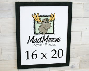 """16x20 PAINTED BLACK Barn Wood [Thin x 1.25""""] Picture Frame . . . (aka 16x20 distressed rustic barn wood frame, man cave rustic frame)"""