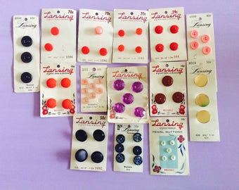 Vintage Buttons, Lansing Buttons, Button Assortment, Button Lot, Red, Gold, Black, Pink, Vintage Sewing Supplies, Buttons on Card, Retro