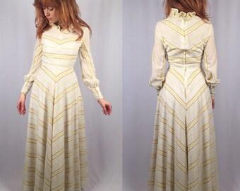 Vintage 1970's yellow and cream chevron prairie maxi dress small