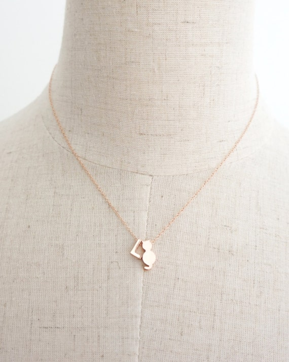 Cat Lover Necklace - Personalized Rose Gold Letter, Cat Charm, Rose Gold Filled Chain, monogram, friendship, initial necklace,