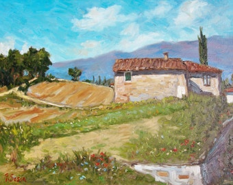 Tuscany original oil painting, landscape Italy, trees, poppies, hills, fields, old house, farm, sunny summer day, Francesco Sessa