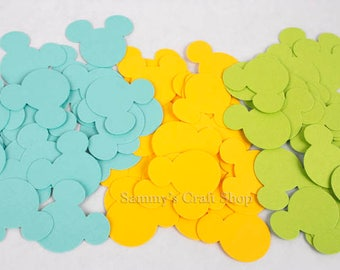 100 Blue, Yellow and Green Mickey Mouse Confetti, Paper Mickey Cut Outs for Baby Showers, First Birthday Boy