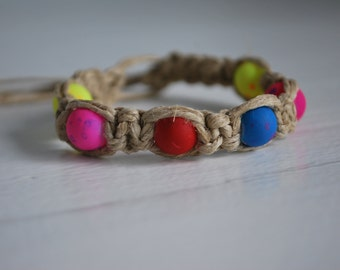 Two Strand Hemp Bracelet with Brightly Colored Beads