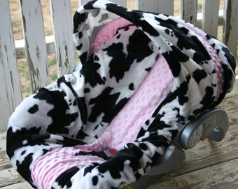 black and white cow print with baby pink minky Car seat cover and hood cover