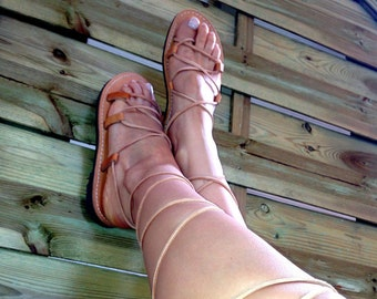 Gladiator Sandals, Greek women's leather sandals, Greek Spartan Sandals, Tie up sandals, Lace up sandals