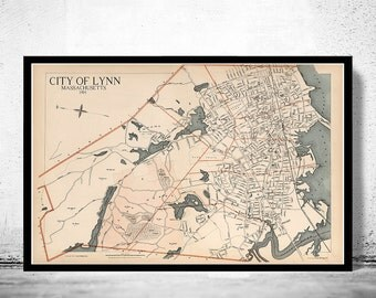 Old Map of Lynn 1891 Massachusetts