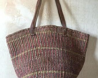 Hand Woven Jute Farmers Market Basket Bag Handbag Shoulderbag Bohemian Boho Style