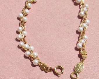 Vintage Napier White Faux Pearl Beaded Bracelet