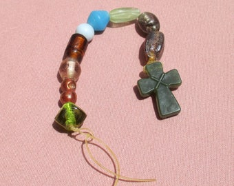 Retro Beaded Cross Dangle