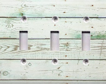 Country Rustic - Distressed Wood Triple Light Switch Cover