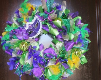 Mardi Gras Wreath, Front Door Wreath, New Orleans, Festival, Purple Green Gold Wreath, Party Wreath FREE SHIP