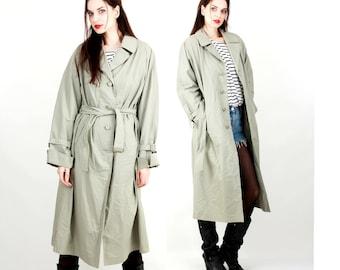 Vintage 80s Coat / Khaki Trench Coat / Belted Coat / Women Spring Cat Size L /M