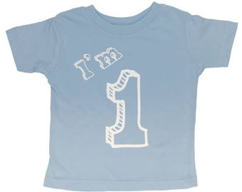 I'm One T Shirt - First Birthday Party 1 Year Old - Baby Blue