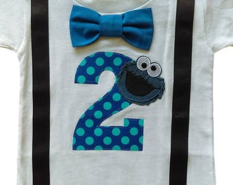2nd Birthday Shirt Boys Cookie Monster Tee