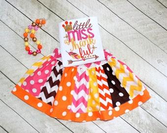 Thanksgiving outfit for girls Thanksgiving skirt set Little Miss Thankful Fall Thanksgiving clothing pink yellow brown Thanksgiving clothing