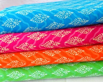 Block print Cotton fabric in bright colors, indian fabric, dress fabric,   boho fabric, tissu indien, indian cotton fabric, half yard