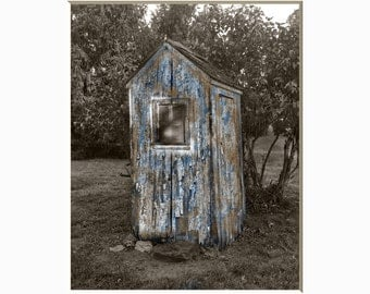 Vintage Bathroom Rustic Outhouse Wall Art, Bath Decor, Country Bathroom Brown Blue Home Decor Matted Picture