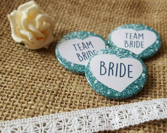 38mm (1.5inch) Size - Quirky Heart Hen Do Badges / Hen Party Badges / Team Bride Badge (A Set) - Dark Turquiose/Green Printed Glitter