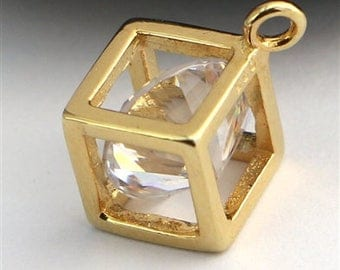 gold on sterling silver cube charm with zirconia , zirconia  trapped in gold cube charm pendant
