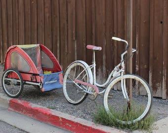 Fine Art Schwinn, Schwinn Bicycle, Old Bikes. Schwinn, Nostalgia, Bicycle and Trailer - 8 x10 Photograph