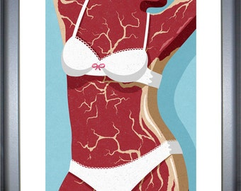 meat woman, signed limited edition print