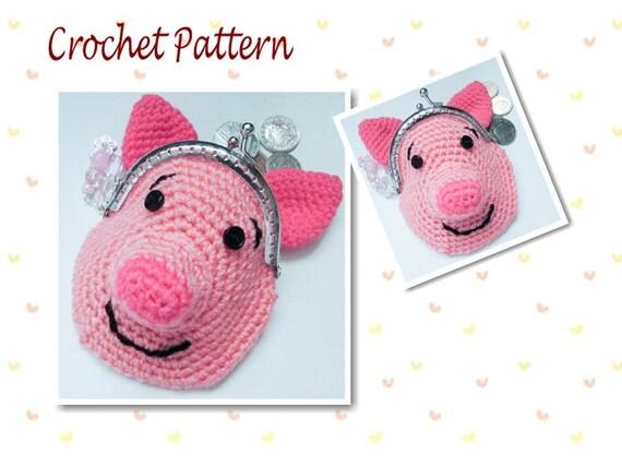Crochet Pattern Piglet Pig Animal Coin Purse Girls Purse bag
