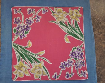 Lovely Pink Handkerchief with Daffodils and Purple Flowers