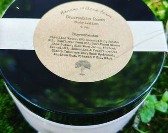 Cannabis Rose Handcrafted Natural Body Lotion 4 oz.