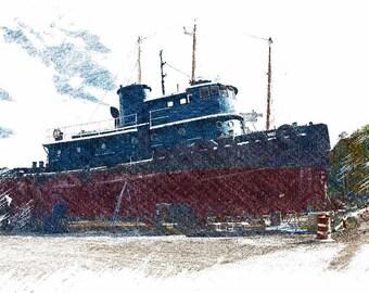 Tug Boat in Dry Dock, Maine