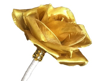 Boutonniere- Metallic Gold artificial rose with ribbon wrapped stem *Pick Ribbon Color