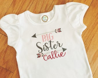 Big Sister T-shirt, Big Sister Announcement Shirt, Tribal Arrows, Sister Top, Big Sister to Be Gift, Toddler Pregnancy Announcement Outfit