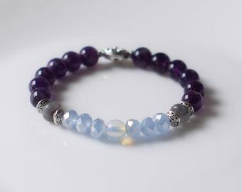 Amethyst bracelet, Natural stones beaded bracelet, Glass beads bracelet, Moonstone bracelet, Bohemian bracelet, Gift idea